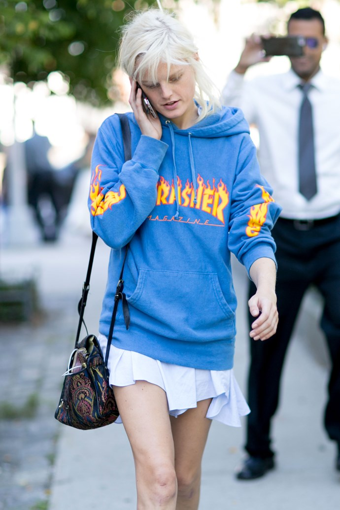 A Thrasher is a must-have if you're going to embrace this trend.