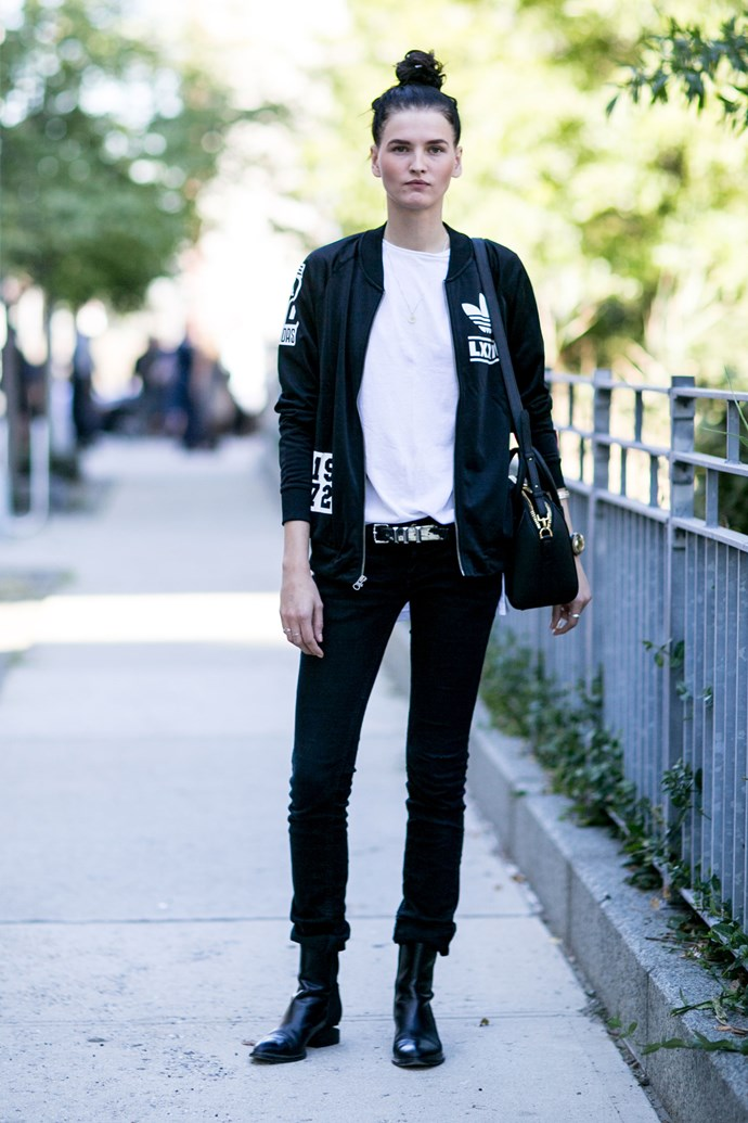 Alexander Wang boots and an Adidas bomber jacket secure the bad-boy look.