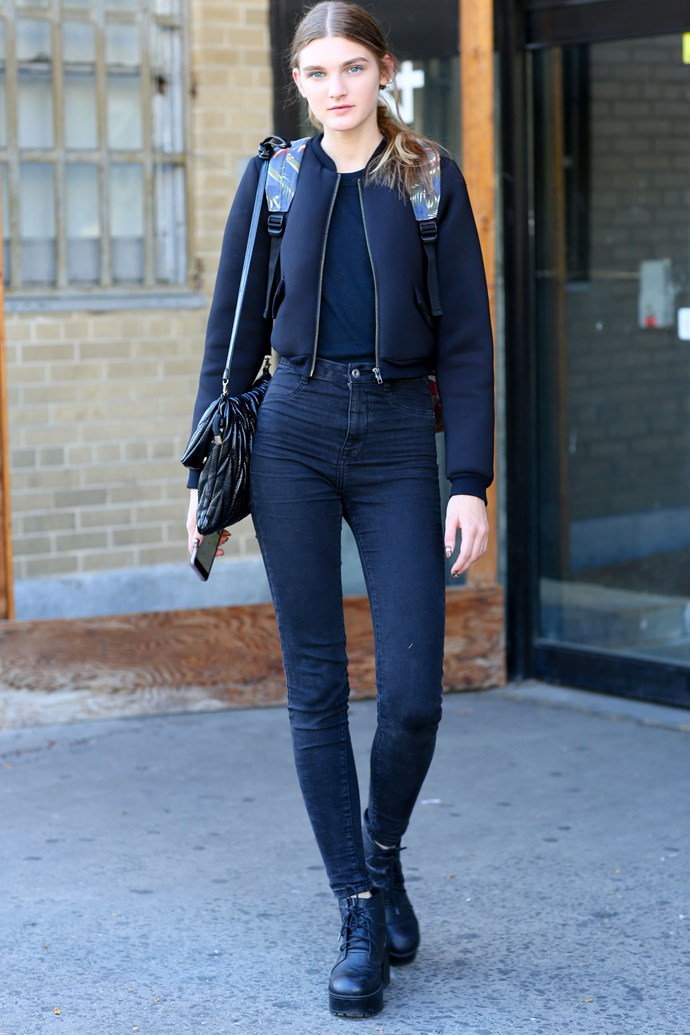 A bomber jacket can transform a plain outfit.