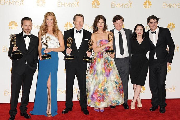 The cast of Breaking Bad in 2014. Cleaning up. Say THEIR name.