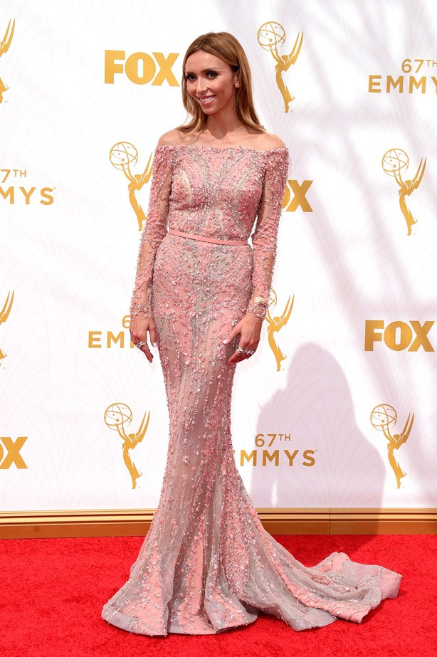 Giuliana Rancic went fem in this embellished pastel pink number.