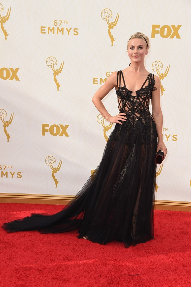 Julianne Hough shows a little skin in this black gown.