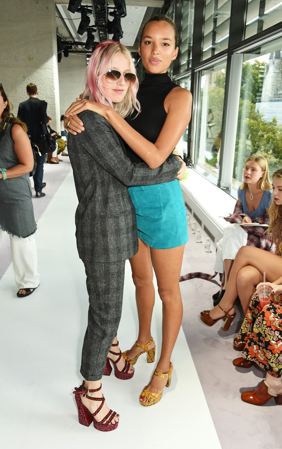 Fashion writer Harriet Verney and artist Phoebe Collings-James hug it out at the presentation.