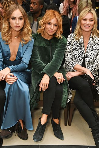 Suki Waterhouse, Sienna Miller and Kate Moss front row at Burberry Prorsum