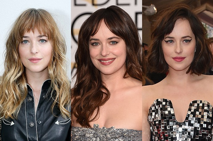 <strong>Dakota Johnson</strong> <br> <br> It's definitely been a whirlwind year for Dakota Johnson both in terms of her career and her hair, while she started mid 2014 with mousy-brown locks and a whispy, mid-forehead  fringe, we would argue that the 50 Shades star came into her own when she took a walk on the dark side with her mahogany locks in January 2015, accompanied by the most adorable centre-parted fringe. Since then she's consistently opted for a more retro look, debuting a choppy shoulder length do and side fringe that's equal measures Dita Von Tease and Alexa Chung, an unexpectedly perfect combination.