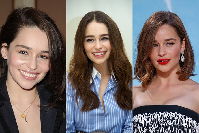 <strong>Emilia Clarke</strong> <br> <br> While we were all a bit stunned when we discovered that the 'Game of Thrones' star wasn't blonde, Emilia Clarke's natural brunette is equally as alluring. While mainly keeping her long, brunette do' Clarke plays around with the parting of her hair which subtly changes up her look. However, we really welcomed her decision to embrace the lob which, in our opinion, shows off her long neck and killer cheekbones. A++.