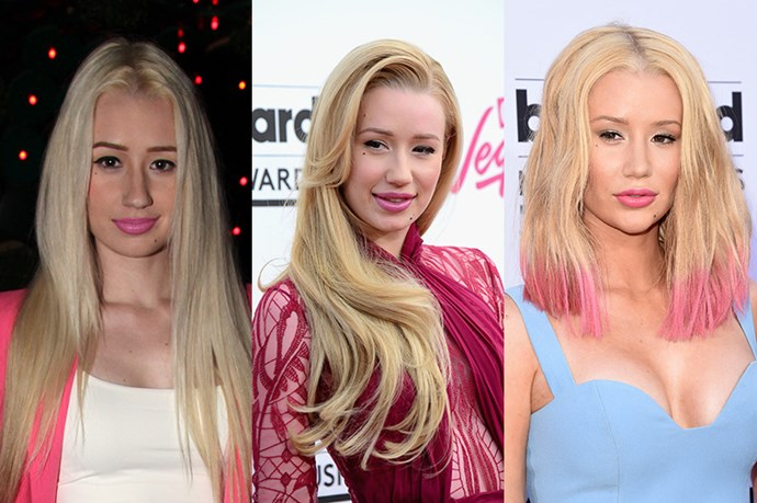 <strong>Iggy Azalea</strong> <br> <br> Blonde, leggy and rebellious attitude, Iggy Azalea's light locks have always been a trademark of hers. While she started off her career with the classic 2000's – era of dead straight, heavily layered hair (we all went there), she eventually embraced a warmer, honey tone and the power of the blow dry – as evidenced by the Billboard Music Awards 2014. However, always one to make a statement in May of this year she Azalea embraced the dip dyeing trend and adding bright pink flare to the ends of her hair. Subtle? No. Unashamedly Iggy? Yes.