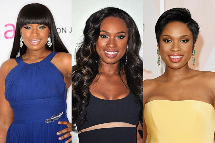<strong>Jennifer Hudson</strong> <br> <br> The dream girls  singer  and American Idol contestant has the ability to carry a haircut the same way she can belt a solo. While rose to fame with her healthy, glossy sleek cut and dramatic fringe – while in hindsight it's a little reminiscent of a bowl cut it was fabulous at the time, she quickly embraced the voluminous, bombshell, pop star curls with the help of hair extensions – also known as God's gift to women. Despite this her recent hair transformation saw her sport a cropped, pixie cut which looked stunning at the 2015 Oscars.
