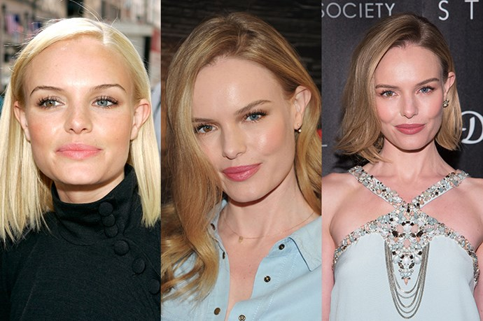 <strong>Kate Bosworth </strong> <br> <br> While her platinum poker straight bob now looks almost unrecognisable, Kate Bosworth is another much loved hair muse to the masses. Generally, Bosworth keeps her hair polished and elegant, choosing a flawless blow dry over elaborate curls. For example her loose, bodacious, mid-length curls and subtly sculpted lob.