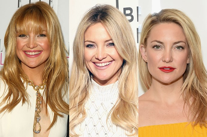 <strong>Kate Hudson</strong> <br> <br> Golden girl Kate Hudson has always been known for her lush, blonde locks, which she's consistently championed over the years. While her look has always consisted of light layers of some sort, Hudson switches up her colour profile from strawberry blonde, to a creamy honey blonde, while also playing around with wispy, choppy bangs in 2008.