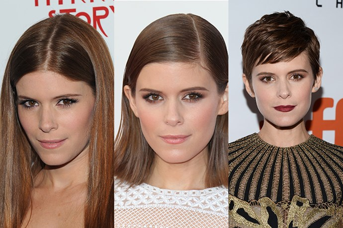 <strong>Kate Mara</strong> <br> <br> Although Mara's signature straight brunette locks have always been a safe, 'pretty' option, we've seen a clear progression from long, (dare we say it) basic hair, to a chic, blunt-cut lob in 2013 to her current pixie do'. Needless to say we love her current hair choice the most – it perfectly accentuates her delicate bone structure while lending an air of timeless Audrey-Hepburn-esque elegance.