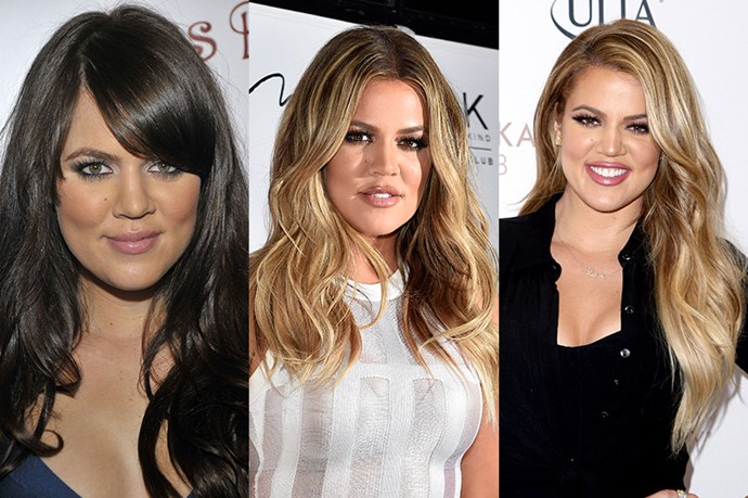Khloe Kardashian <br> <br> The much loved comedienne of the family – Khloe Kardashian is known for more than her outspoken nature and quick wit. Although block-coloured locks are now a thing of the past, balayage and highlights have really given the middle Kardashian's hair added depth and dimension while regular length changes keeps her mane healthy while also refreshing her look.