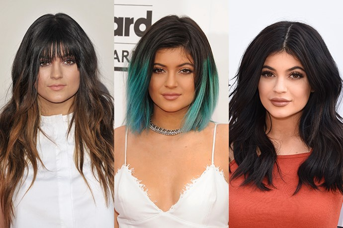 <strong>Kylie Jenner</strong> <br> <br> Growing up in the spotlight, we've seen Kylie Jenner's style, hair and lips evolve right in front of our very eyes. Although Jenner's long, layers, ombre and wispy hair, perfectly suited the then 11 year old, 2014 began the era of Kylie which saw the teen debut her fabulous teal ombred lob at the 2014 Billboard Music Awards before winning the hearts of girls world-wide in June of this year with her trademark, shaggy, tousled and voluminous hair.