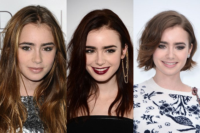 <strong>Lily Collins</strong> <br> <br> Daughter of music legend Phil Collins, it only seemed right that Lily Collins would inherit the rocker style of her revered dad. Indisputably she's come a long way from her awkward caramel flecked, straight do in 2009, she eventually utilised her long, brunette tresses in layered look that she'd be later known for – along with her impossibly lush eyebrows.  However, never one to remain still, Collins later debuted her new cropped, pixie-slash-bob cut at the 2015 Vanity Fair Oscars, which looks positively eye-catching.