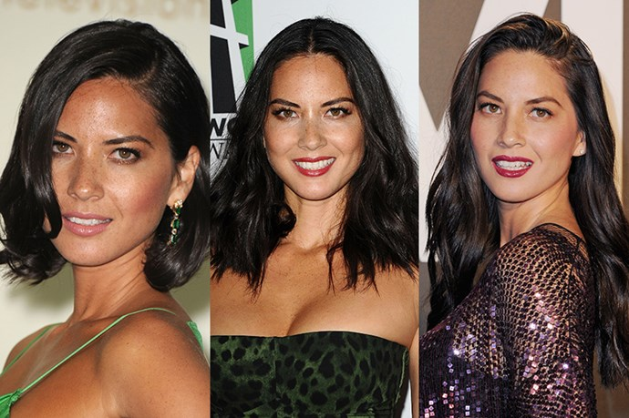<strong>Olivia Munn</strong> <br> <br> Although Olivia Munn has more or less kept her hair colour the same over the years, we've seen her hair styles gradually increase in length. We've seen the actress transition from an elegant chin-length crop to a mid-length do' before she crossed over to the long and dark side – which pleasantly saw her remove a lot of bulk which can lead to frizziness. Although we love that she's not afraid to play with a variety of lengths – after all, hair grows, Munn did look particularly ravishing with a short, face-framing bob.