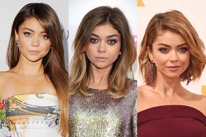 <strong>Sarah Hyland </strong> <br> <br> Another actress that's embraced shorter hair, we've seen Sarah Hyland shorten her hair from her long tresses of 2013 to a layered bob in 2014 and finally as one of the first to embrace the look of the moment – the layered bob. While her long locks will always remind us of teenage Haley from the hit series 'Modern Family', her shorter do lends her a sense of maturity and elegance.