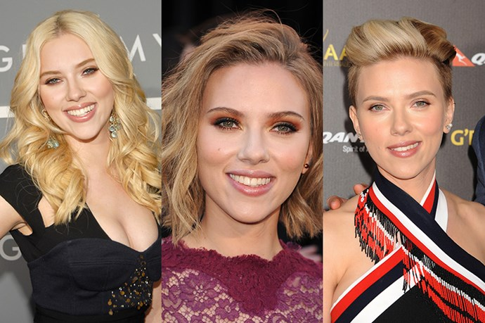 <strong>Scarlett Johansson</strong> <br> <br> Another fan of the 'hairvolution' Scarlett Johansson has gradually transitioned from long 'starlett' hair to an edgier look we've come to know her for. While the Johansson of 2007 championed bouncy waves, she eventually progressed to a tousled bob in 2011 before finding her style in a possibly Mile-inspired, pixie cut with shaved sides. Wether long and flowing or shaved and gelled, it's always refreshing to see someone confident enough to take a risk.