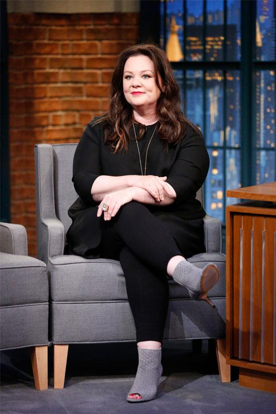 "<strong>Melissa McCarthy:</strong> 'For someone who has two daughters, I'm wildly aware of how deep that rabbit hole goes. But I just don't want to start listening to that stuff. I'm trying to take away the double standard of ""You're an unattractive bitch because your character was not skipping along in high heels.""'"