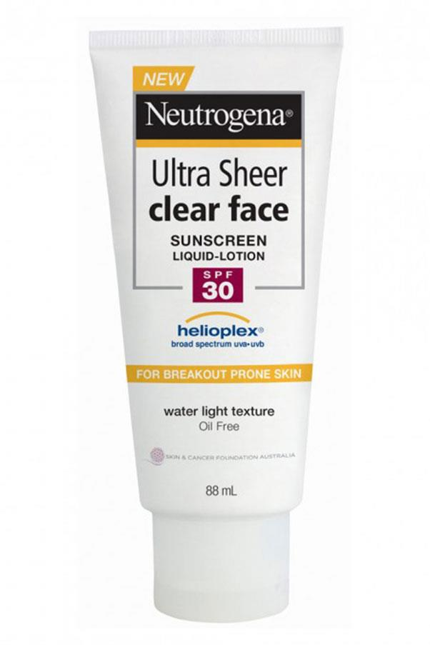 """<a href=""""https://www.priceline.com.au/brand/neutrogena/neutrogena-ultra-sheer-clear-face-sunscreen-lotion-spf30-88-ml"""">Ultra Sheer Clear Face Sunscreen Lotion, NEUTROGENA </a> <br> <br> If you're a greasy-faced kind of girl, meet your new bff. Formulated with the brands epic Helioplex technology for  broad spectrum protection, it it;s totally oil-free and non-comedogenic, meaning it won't clog your pores."""