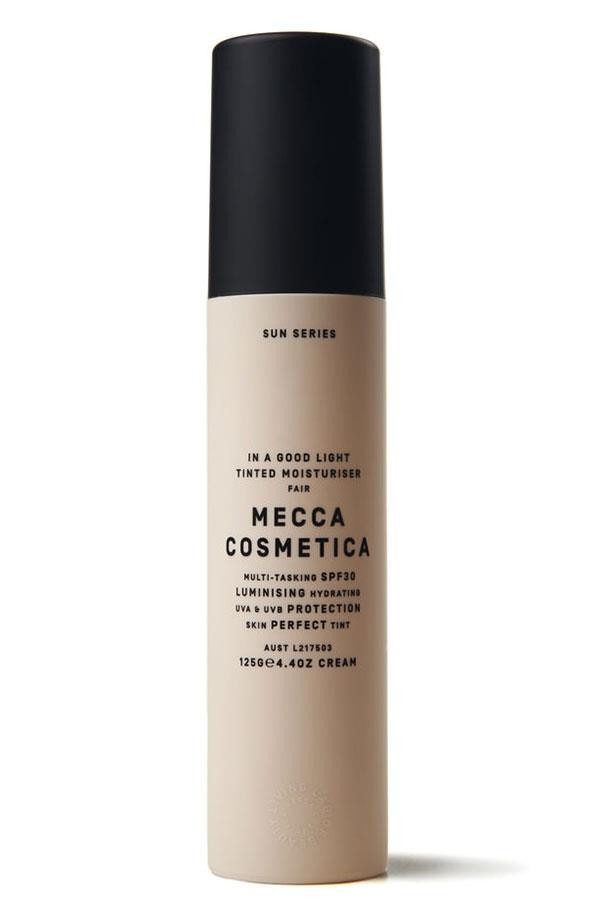 """<a href=""""http://mecca.com.au/mecca-cosmetica/in-a-good-light/V-017497.html?cgpath=skincare-sunprotection#start=1"""">In Good Light, MECCA COSMETICA </a> <br> <br> A tinted moisturiser that seriously brings it in the sun protection department. Broad spectrum but super light, your skin drinks it straight up with no stick residue left behind."""