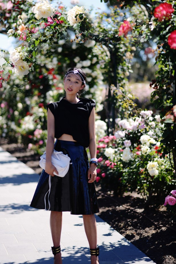 Clearly separates are the theme with Margaret Zhang. In 2013, she paired an ASOS skirt with an Ellery top and a beaded headpiece for Derby Day.
