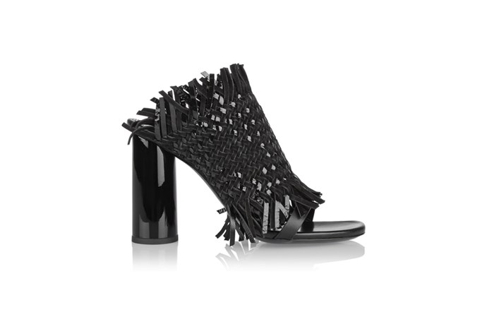 "<a href=""http://www.net-a-porter.com/au/en/product/570561"">Proenza Schouler, Woven patent-leather and suede mules, $923.02. </a>"