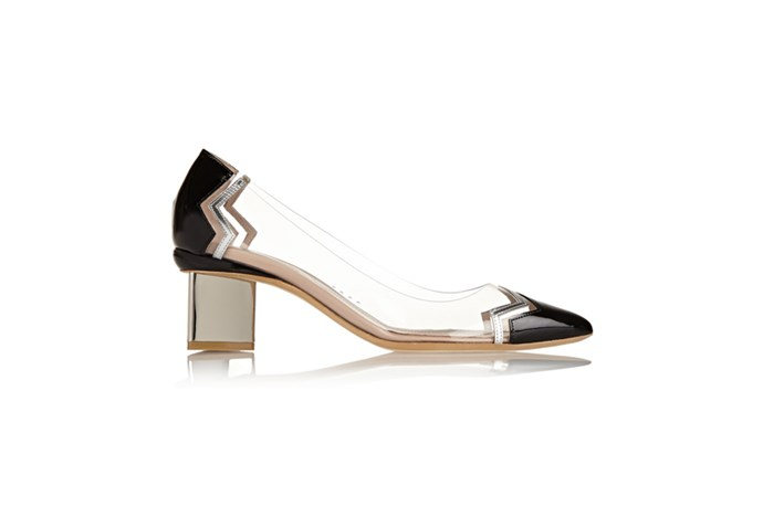 "<a href=""http://www.net-a-porter.com/au/en/product/504917"">Nicholas Kirkwood, Leather and PVC pumps, $755.30. </a>"