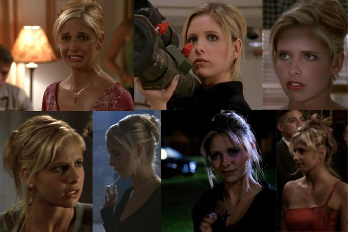 """<em><strong>Buffy the Vampire Slayer</strong></em> <br> <br> <em>Sarah Michelle Gellar's Buffy</em> <em>Summers </em>was the small screen queen of the early noughties updo, always complete with purposely not-on-purpose-looking tendrils left out the front. <br> <br> Securing her french twist with an oh-so 2002<a href=""""http://www.amcal.com.au/beauty-theory-clip-ibis---black-p-9341571005928?cm_mmc=GooglePLA-_-NA-_-Beauty+Theory-_-9341571005928&mkwid=s7BaNNYe4_dc&pcrid=65807435918&pkw=&pmt=&plid=&gclid=CjwKEAjwp56wBRDThOSZ3vqGzmESJABjNaj9KKXic2Oitnd3T1LkUBt739ap833A6AaEJUOOUqXHnRoCl6Tw_wcB""""> ibis clip</a> also came in handy when she needed a last minute stake to stab a vamp with."""