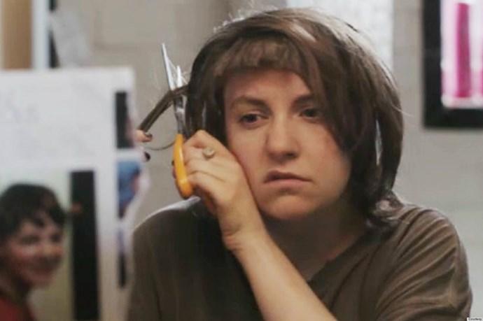 <em><strong>Girls</strong></em> <br> <br> <em>Hannah </em>and her DIY bowl cut. So many feels.
