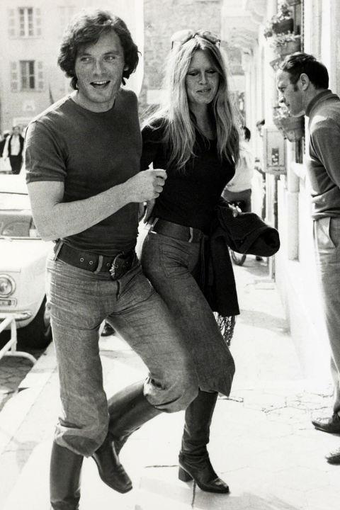 With her boyfriend Christian Kalt in St.Tropez on April 12, 1971. GETTY