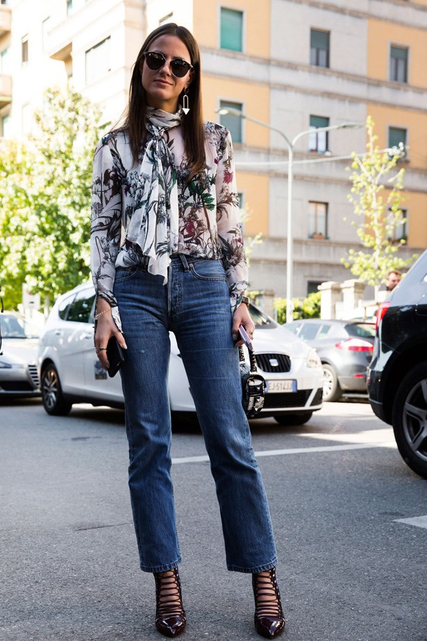 Mom jeans and a floral blouse.