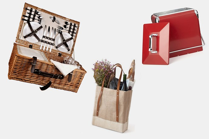 """1. Let's face it: your picnic storage is as important, if not more, as the stuff you actually put in them. And yes, people do judge you whilst in transit to a picnic (we hope). <br> <br> <br> <br> <a href=""""https://www.wheelandbarrow.com.au/outdoor/picnic-baskets/picnic-basket-honey-willow-beigewhite-check-4p"""">Wheel & Barrow, Picnic Basket Honey Willow 4P, $139.95</a>, <a href=""""http://www.crateandbarrel.com/kitchen-and-food/food-containers-storage/red-picnic-cooler/f57412"""">Crate & Barrel, Red Picnic Cooler, $130.</a>, <a href=""""http://store.apolisglobal.com/luggage/wine-tote/#natural"""">Apolis + Scribe Wine Tote in Natural, 88USD.</a>"""