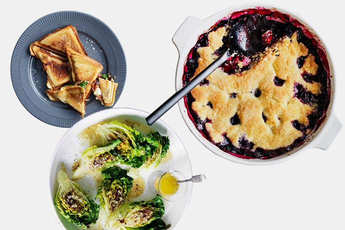 """3. If you've decided to forgo the traditional deli splurge and make your own dishes, first of all, we salute you. Second of all, try some of Gourmet Traveller's winning share pieces including: <br> <br> <br> <br> <a href=""""http://www.gourmettraveller.com.au/recipes/recipe-search/feature-recipe/2013/2/grilled-cos-with-lemon-anchovy-butter-dressing/"""">Grilled Cos with Lemon-Anchovy Dressing, recipe by Gourmet Traveller,</a> <a href=""""http://www.gourmettraveller.com.au/recipes/recipe-search/fast/2013/8/eggplant-parma-jaffles/"""">Eggplant parma jaffles, recipe by Gourtmet Traveller</a>, <a href=""""http://www.gourmettraveller.com.au/recipes/recipe-search/fast/2015/8/blueberry-cobbler-with-ice-cream/"""">Blueberry Cobler with Ice Cream, recipe by Gourmet Traveller</a>."""