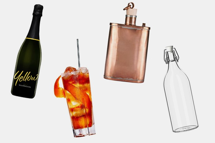 """4. Nearly as important as eating is drinking, which must be copious, long-lasting and delicious. We love the Yellowglen Colours Collection, Original Sin's Grande Bellezza, and spirits and rosé housed in beautiful bottles and flasks. <br> <br> <br> <br> <a href=""""https://www.yellowglen.com/our-collections/colours"""">Yellowglen 'Yellow',</a><a href=""""http://www.gourmettraveller.com.au/drinks/drinks-features/2015/9/original-sins-grande-bellezza/"""">Original Sin's Grande Bellezza, recipe by Gourmet Traveller</a>, <a href=""""https://www.kaufmann-mercantile.com/products/handmade-copper-flask"""">Kaufmann Mercantile, Handmade Copper Flask, $149</a>, <a href=""""http://www.ikea.com/au/en/catalog/products/00213558/"""">IKEA Korken bottle, $1.70</a>."""
