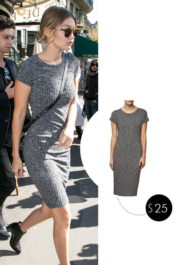 Gigi Hadid was snapped shopping at Chanel in Paris wearing this $24.95 dress from Australian brand Cotton On because that's the kind of girl she is.