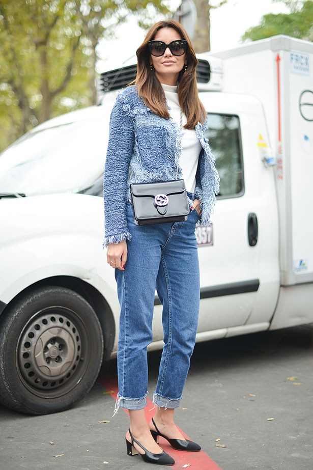 The final, perfect touch to a jeans and boucle jacket combination.