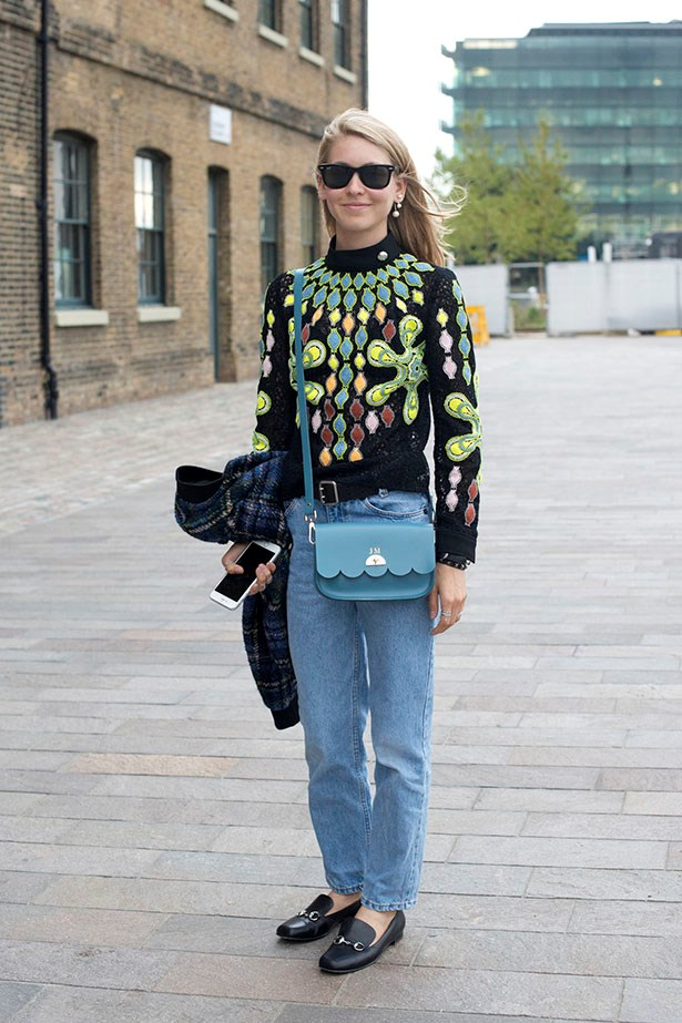 Jessica Minkoff keeps it playful with her Gucci loafer and vintage jeans combo.
