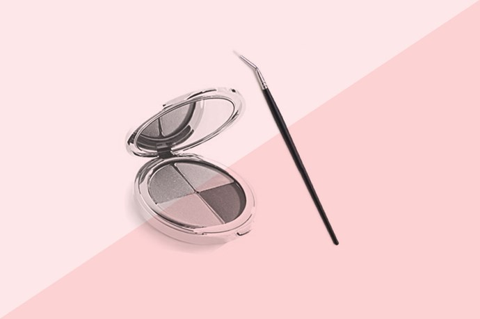 In a pinch, eyeshadow can work as eyeliner. Grab your preferred shade and a damp angled eyeliner brush and pat down the product until it's the right consistency. Work the product onto your lashline in a pressing motion and you're done.