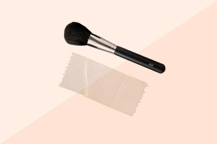 Sticky tape is also good for catching excess eyeshadow when you're doing your eyes. Apply make up as usual, then get a piece of sticky tape, stick it in a loop around your fingers and then move it in a rolling motion across the powder to pick it up. Like a mini lint roller, but better.