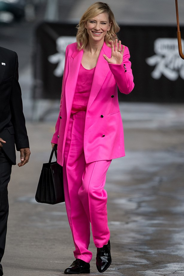 Cate Blanchett was the opposite of subtle in this highlighter pink suit by Edun. And thank goodness for that. Here's to in yer face fashion, long may it reign. Image: Getty
