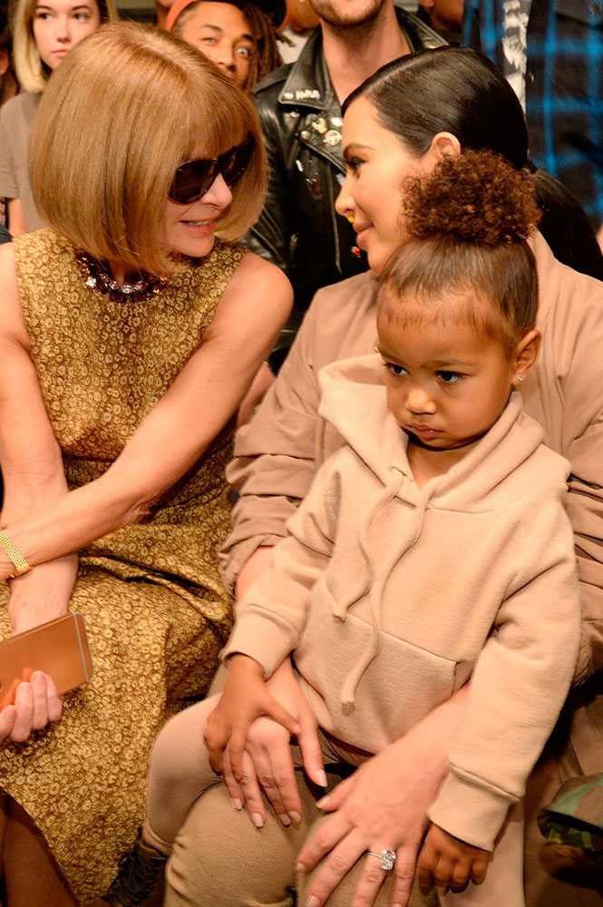 North West stealing the Yeezy show. The only instaworthy topping moment: Beibs on the second row. Image: Getty