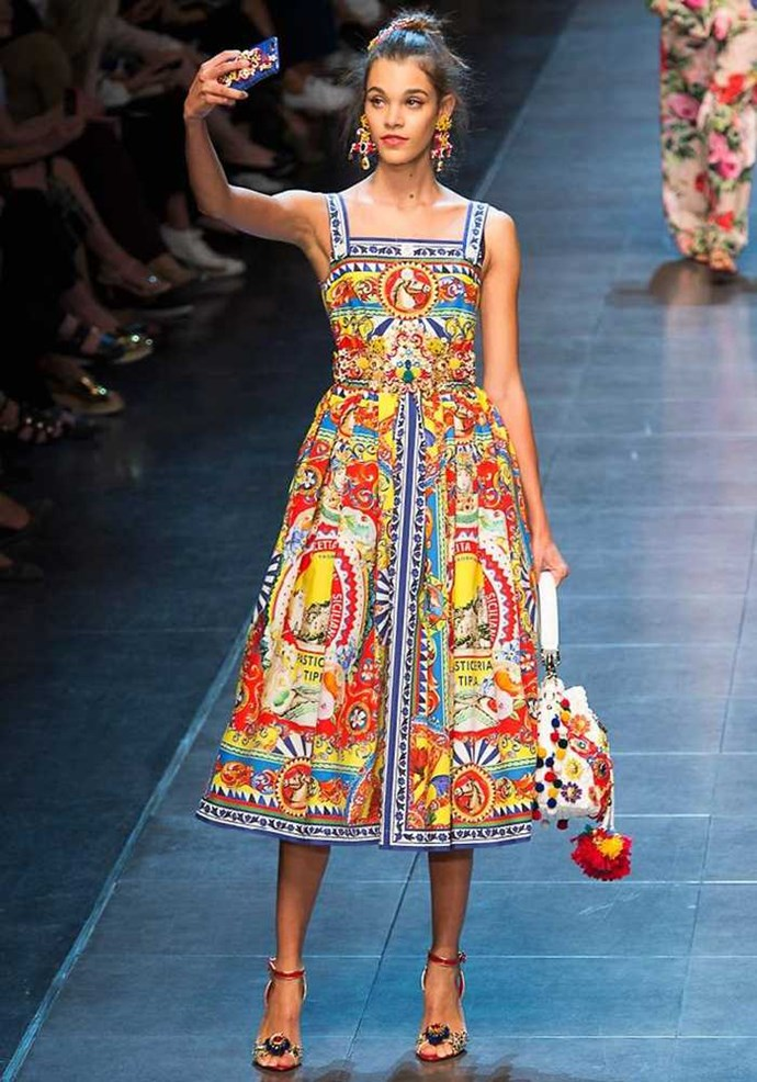 Dolce & Gabbana is always a spectacle, a true show and this season it was the selfie show. A live stream of beautiful snaps from sashaying models, ending in a Scillian flavoured stampede. Image: IMAXTREE