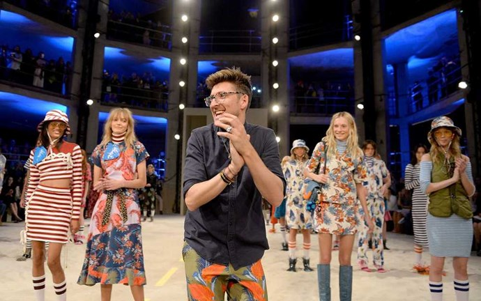 Four stories deep Henry Holland's setting for his show was like a Hunger Games invitation. Fashion gladiators took to the catwalk in army like format with an ever joyous Henners at the helm. Add an Alexa and a Daisy, insta gold. Image: Getty