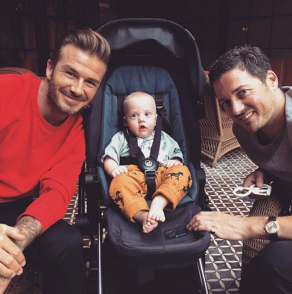 Liv posted this to Instagram: ❤️ Sweet boys !!!❤️ sailor having lunch with his daddy @davidgardner and his God daddy @davidbeckham <br> <br> David Beckham is his godfather. That is all.