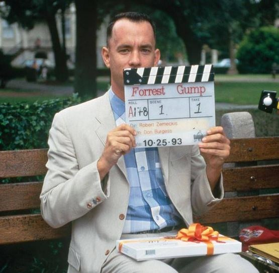 "<strong>Forrest Gump (1994)</strong> <br> <br> Tom Hanks as Forrest Gump, getting ready for a take. <br> <br> Image: <a href=""https://twitter.com/history_pics/status/587847509856411648"">Twitter</a>"
