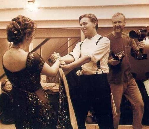 "<strong>The Titanic (1997)</strong> <br> <br> Because we can't get enough of The Titanic- Kate and Leo filming the dancing scene. <br> <br> Image: <a href=""https://twitter.com/MakingOfs/status/634183639094423552/photo/1"">Twitter</a>"