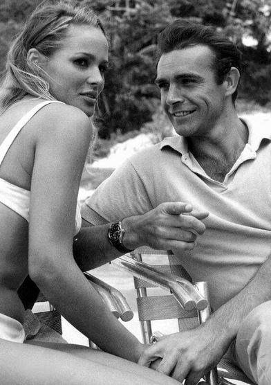"<strong>Dr. No (1962)</strong> <br> <br> Sean Connery and Ursula Andress on set of the James Bond film. <br> <br> Image: <a href=""https://twitter.com/MakingOfs/status/647229610090987520/photo/1"">Twitter</a>"