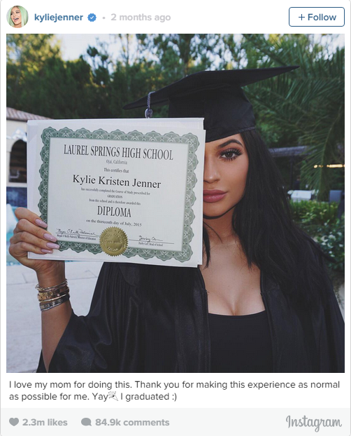 5. July 23, 2015: Another Kardashian family member, Kylie Jenner, graduated from high school. Making 3 out of the 5 most liked Instagram snaps coming from a member of the Kardashian-Jenner clan, Kris will be pleased.
