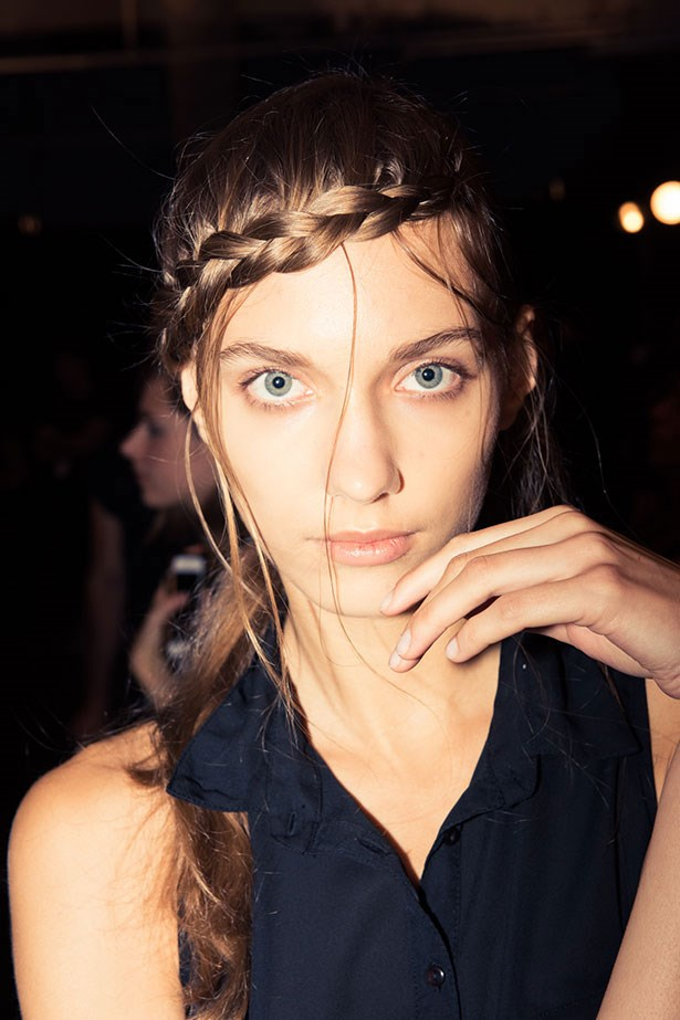 """<strong>Best braid: Herve Leger</strong> <BR> <BR> Part ethereal-princess, part <em>Katniss Everdeen</em>-style side-braid, <em>Orlando Pita</em> upped the romance at <em>Herve Leger</em>. Washing each model's hair first with <a href=""""https://www.priceline.com.au/tresemme-perfectly-un-done-conditioner-750-ml""""><em>Tresemme Perfectly [Un]Done Shampoo and Conditioner</em> </a>gave <em>Pita </em>the texture he needed to hold each braid. His top tips? <em>""""Take hair from underneath as you braid so it's raised, and leave strands loose as you go for softness,""""</em> he says. <em>""""Never try to pull them out afterwards or you'll ruin it.""""</em>"""