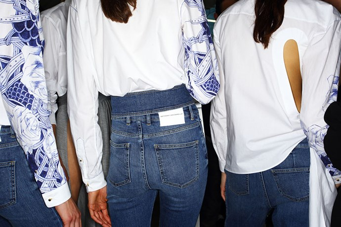 <em>My first show of Paris Fashion Week - Anthony Vaccarello. Denim got the deluxe treatment for Spring '16 and Anthony's take was among my favourites, offset by crisp whites and tattoo prints.</em>